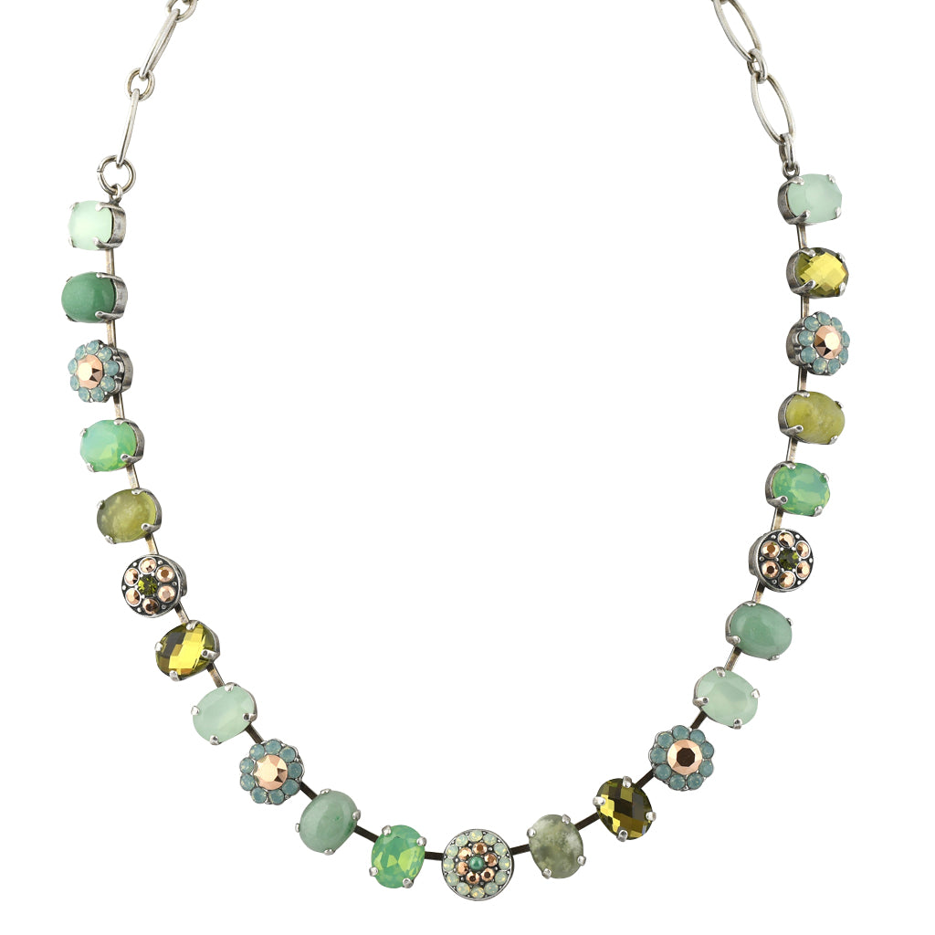 "Mariana Jewelry Evergreen Oval Necklace, Silver Plated with Crystal, 18"" 3416"