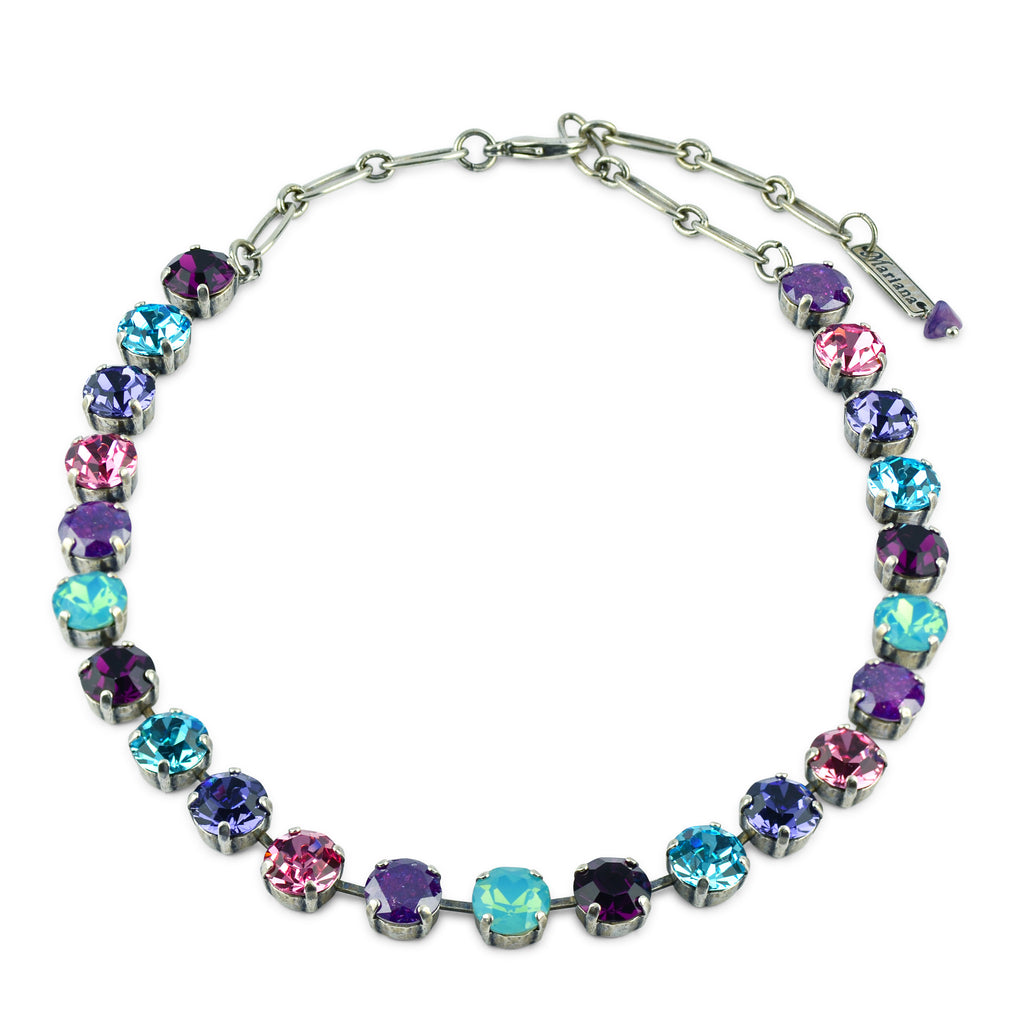"Mariana Jewelry ""Cotton Candy"" Round Crystal Necklace, Silver Plated, 18"" 3445 144"