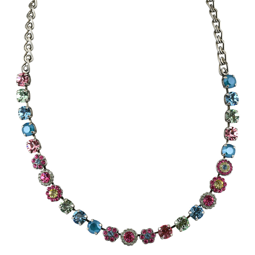 Mariana Jewelry Spring Flowers Necklace, Silver Plated with Swarovski Crystal, Nature Collection MAR-N-3479 2141 SP