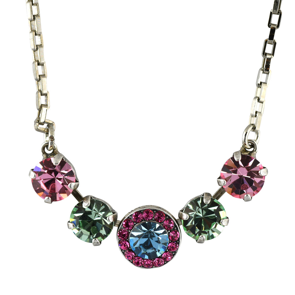 Mariana Jewelry Spring Flowers Necklace, Silver Plated with Swarovski Crystal, Nature Collection MAR-N-5084 2141 SP