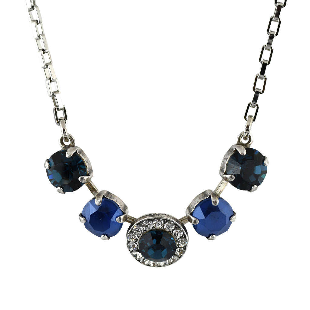 Mariana Jewelry Ocean Necklace, Silver Plated with Swarovski Crystal, Nature Collection MAR-N-5084 2142 SP