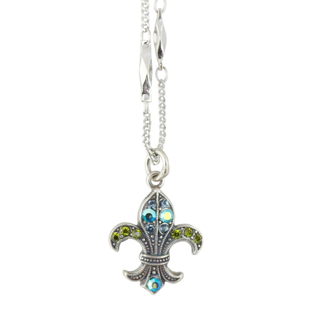 Mariana Green City Silver Plated Crystal Fleur De Lis Pendant Necklace