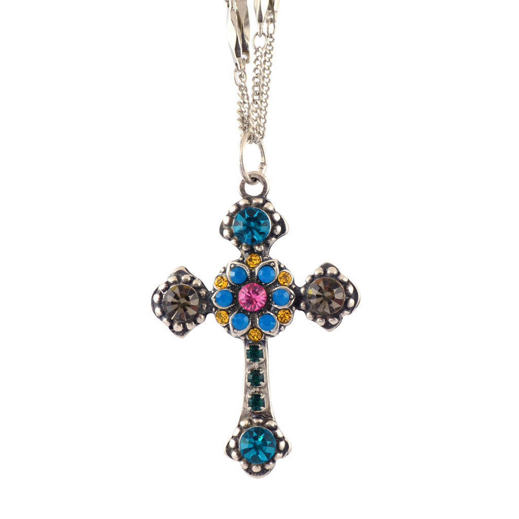 Mariana Selene Silver Plated Double Chain Cross Pendant Necklace 5114 1086