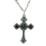 Mariana Jewelry Frost Silver Plated Double Chain Cross Pendant Necklace 5114