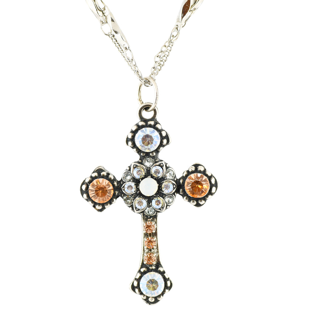 "Mariana ""Sweet Pea"" Silver Plated Crystal Cross and Guardian Angel Necklace"