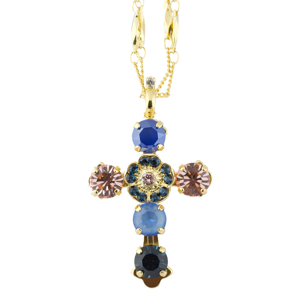 "Mariana ""Blue Morpho"" Crystal Gold Plated Double Chain Cross Pendant Necklace"