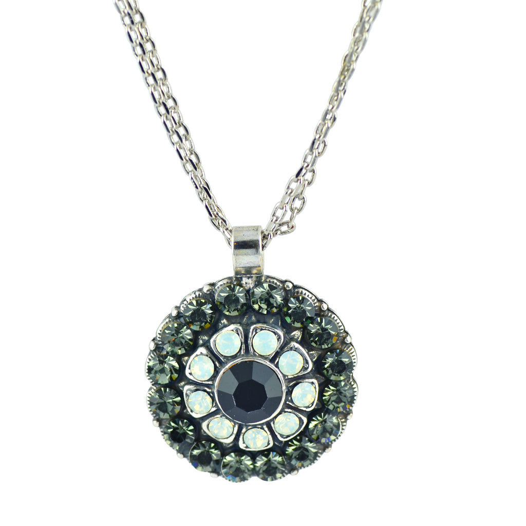 "Mariana Jewelry ""French Silk"" Silver Plated Crystal Flower Pendant Necklace, 14+4"""