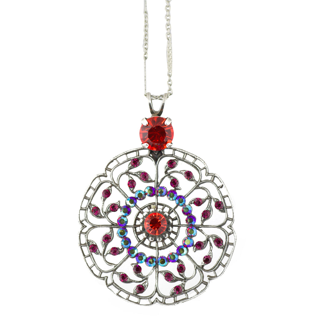 Mariana Lady Marmalade Silver Plated Filigree Circle Pendant Necklace, 24+4""