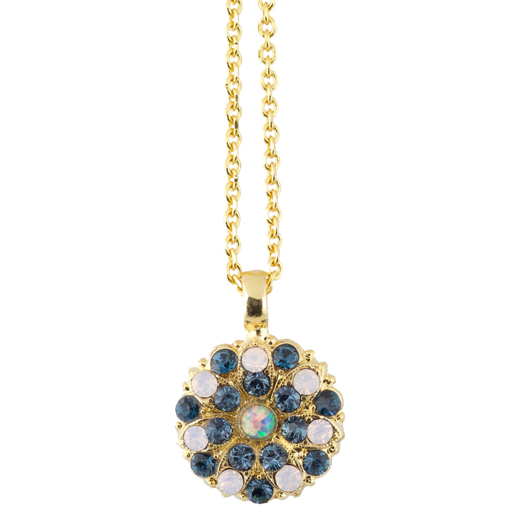 "Mariana ""Blue Morpho"" Gold Plated Crystal Guardian Angel Pendant Necklace"
