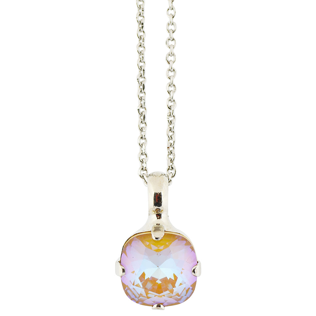 Mariana Sun-Kissed Horizon Rhodium Plated Rounded Square Crystal Pendant Necklace