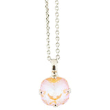 Mariana Sun-Kissed Peach Rhodium Plated Rounded Square Crystal Pendant Necklace