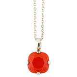 Mariana Rhodium Plated Rounded Square Crystal Pendant Necklace