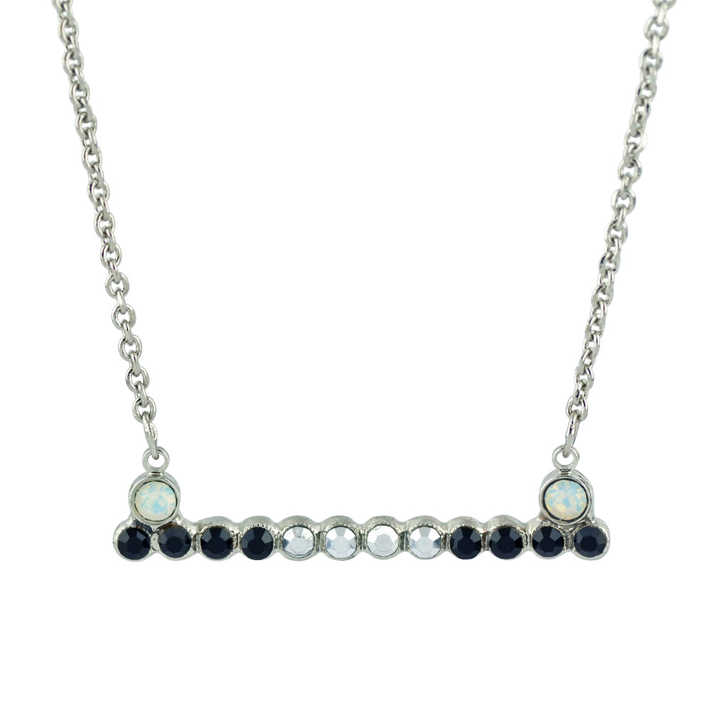 "Mariana Silver Plated ""French Silk"" Crystal Bar Necklace"