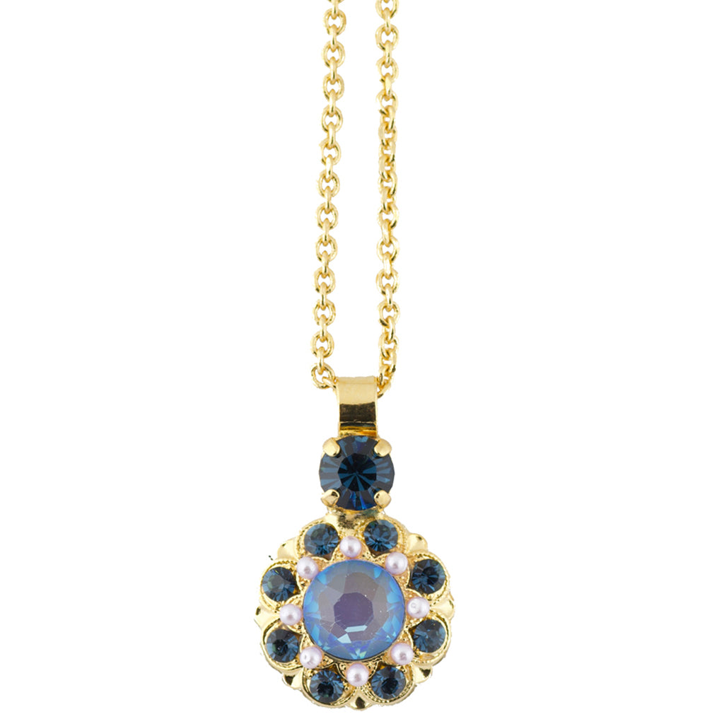 "Mariana Gold Plated ""Blue Morpho"" Crystal Flower Necklace"