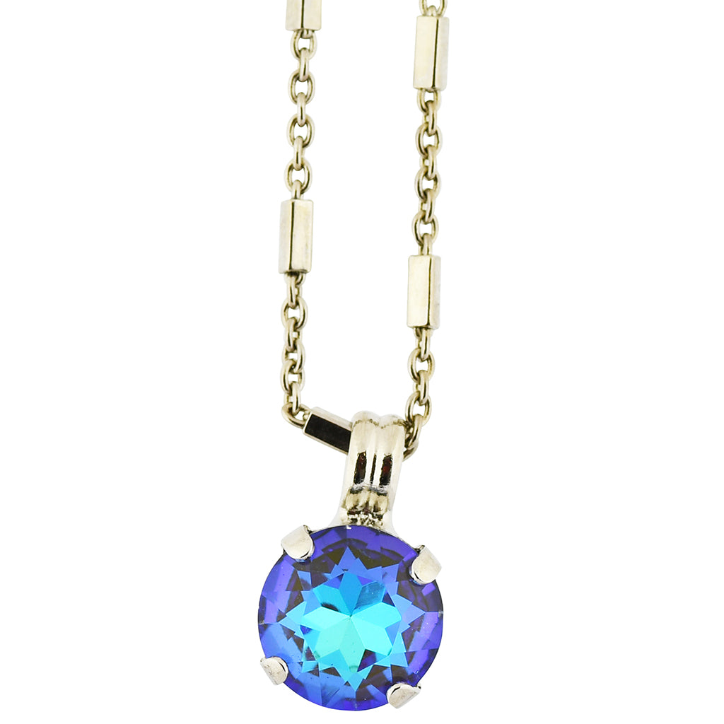 Mariana Sun-Kissed Midnight Rhodium Plated Round Crystal Pendant Necklace