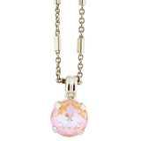 Mariana Sun-Kissed Peach Rhodium Plated Round Crystal Pendant Necklace