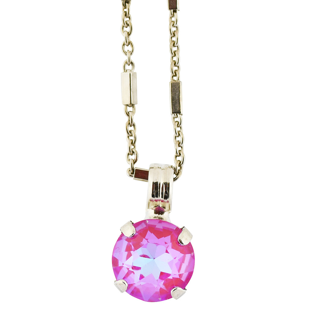 Mariana Sun-Kissed Blush Rhodium Plated Round Crystal Pendant Necklace