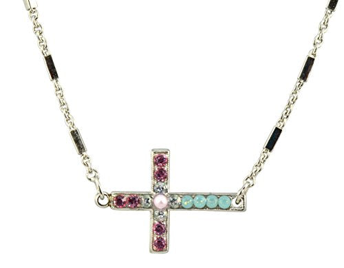 "Mariana Jewelry ""Eternity"" Silver Plated Crystal Sideways Cross Necklace, 16+4"""