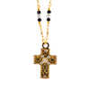 Michal Golan Detailed Cross Necklace With Gold Plated Double Chain, Black/Clear 16+4
