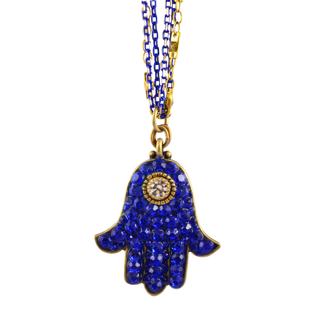 Michal Golan Crystal Hamsa Hand Necklace With Multicolor Chain, Blue/Clear 18+4""