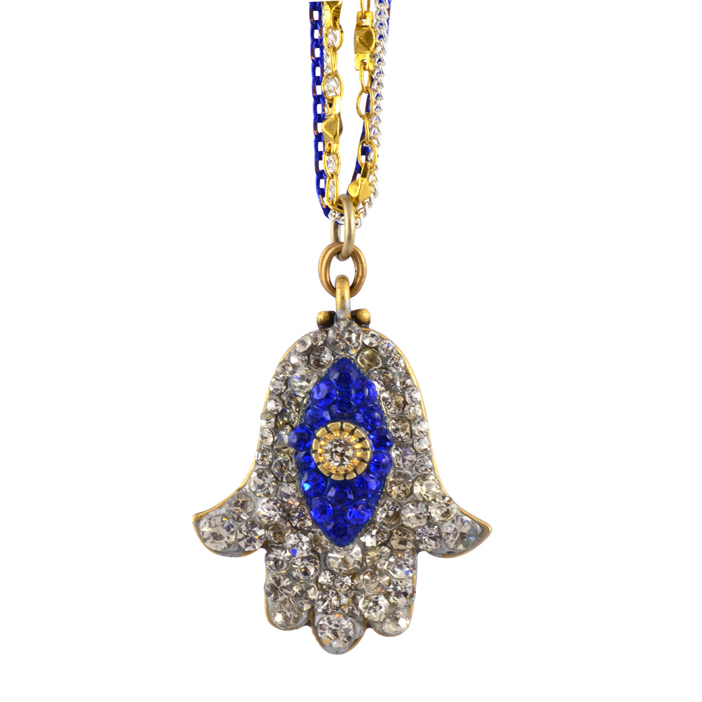 Michal Golan Crystal Hamsa Hand/Evil Eye Necklace With Multicolor Chain, Blue/Clear 16+4""