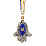Michal Golan Crystal Hamsa Hand/Evil Eye Necklace With Multicolor Chain, Blue/Clear 16+4
