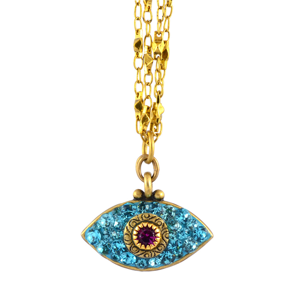 Michal Golan Large Crystal Evil Eye Necklace With Gold Plated Double Chain, Blue/Fuchsia 18+4""