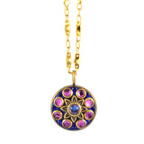 Michal Golan Round Star Pendant Necklace With Gold Plated Chain, Blue/Pink 18+4