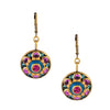 Michal Golan Round Multicolor Blue and Pink Crystal Dangle Earrings