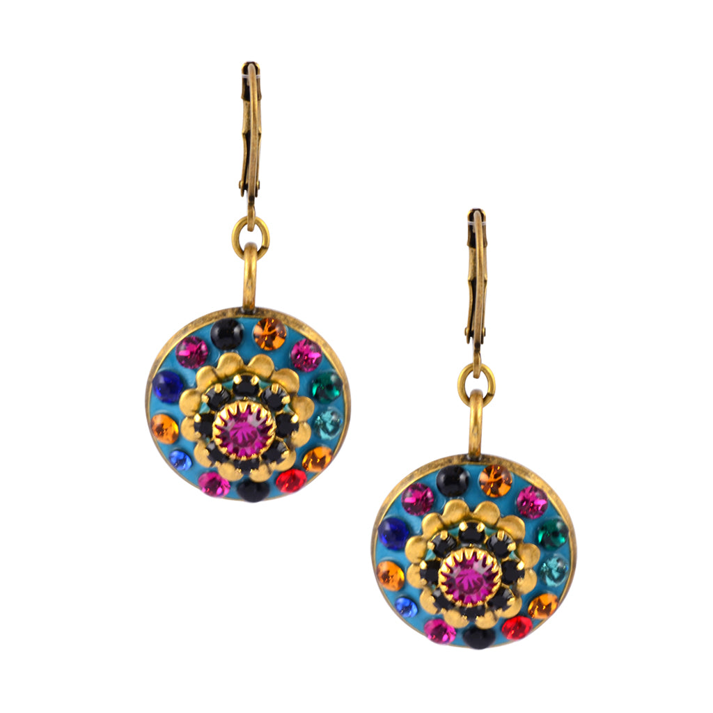 swarovski crystals satin junkil earring gold stones earrings pave multi color