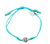 My Saint My Hero Breathe Blessing Bracelet, Adjustable (Silver Dipped Medals on Turquoise)