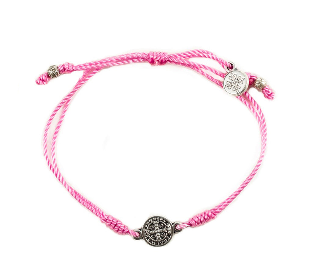 My Saint My Hero Breathe Blessing Bracelet, Adjustable (Silver Dipped Medals on Pink)