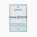 My Saint My Hero Serenity Blessing Bracelet, Adjustable (Silver Dipped Medals on Gray)
