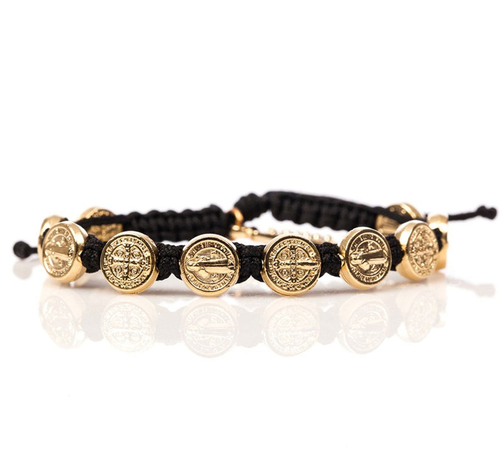 My Saint My Hero Handwoven Benedictine Blessing Bracelet, Adjustable (Gold Dipped Medals on Black)