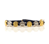 My Saint My Hero Handwoven Benedictine Blessing Bracelet, Adjustable (Gold and Silver Dipped Medals on Navy)