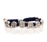 My Saint My Hero Handwoven Benedictine Blessing Bracelet, Adjustable (Silver Dipped Medals on Navy)