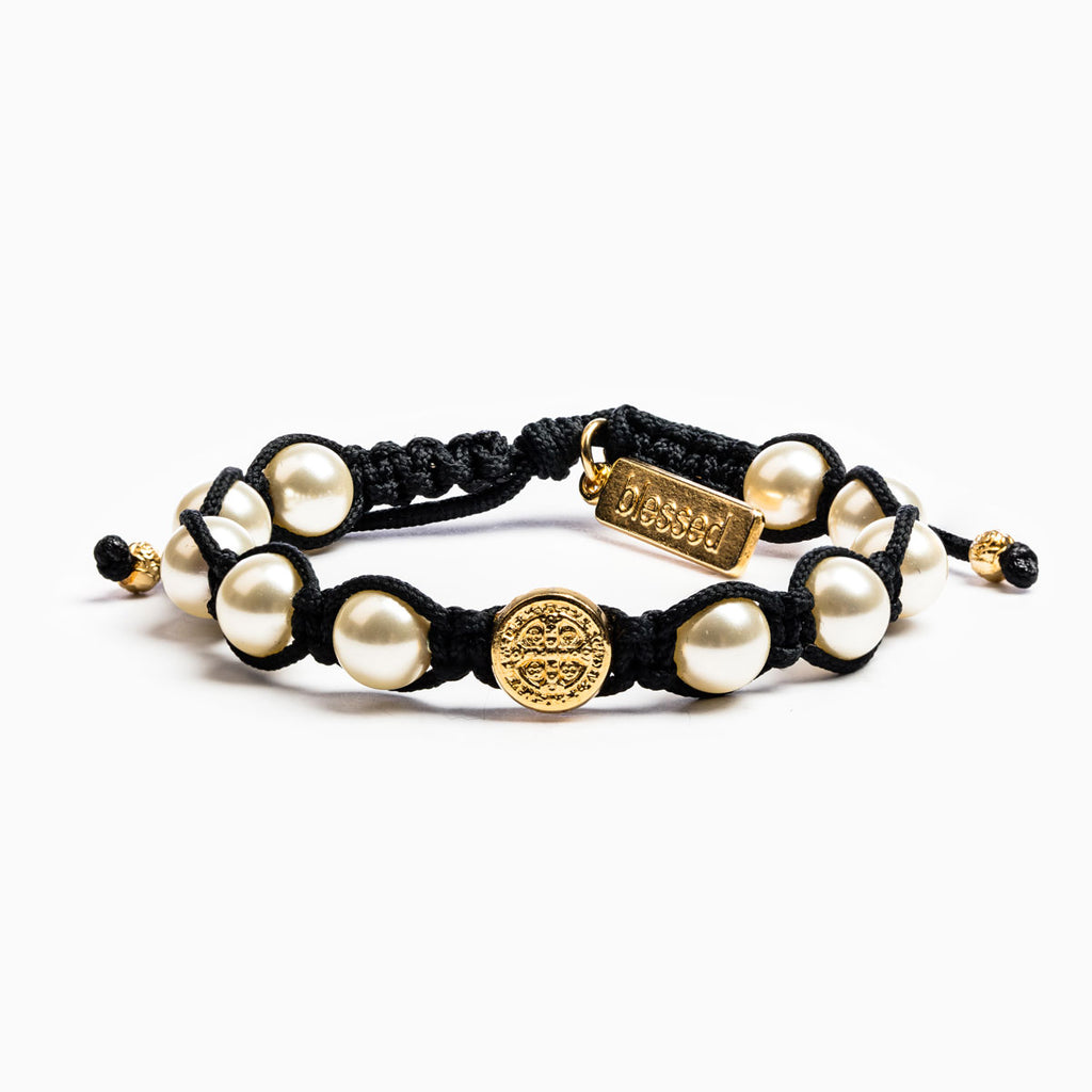 My Saint My Hero Divine Blessings Bracelet, Adjustable (Black/White/Goldtone)