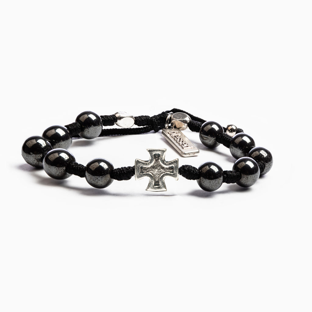 My Saint My Hero Honor Blessing Bracelet, Men's Adjustable (Silver Plated Medals on Black)