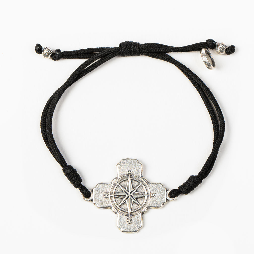 My Saint My Hero True North Compass Cross Bracelet, Adjustable (Silver Plated Medal on Black)