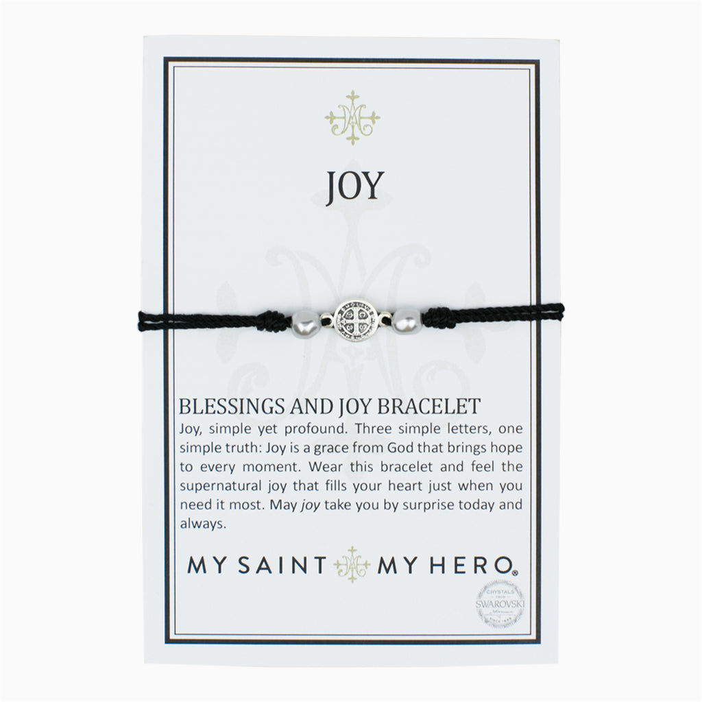 My Saint My Hero Blessings and Joy Bracelet, Adjustable (Silver Plated Medal on Black)