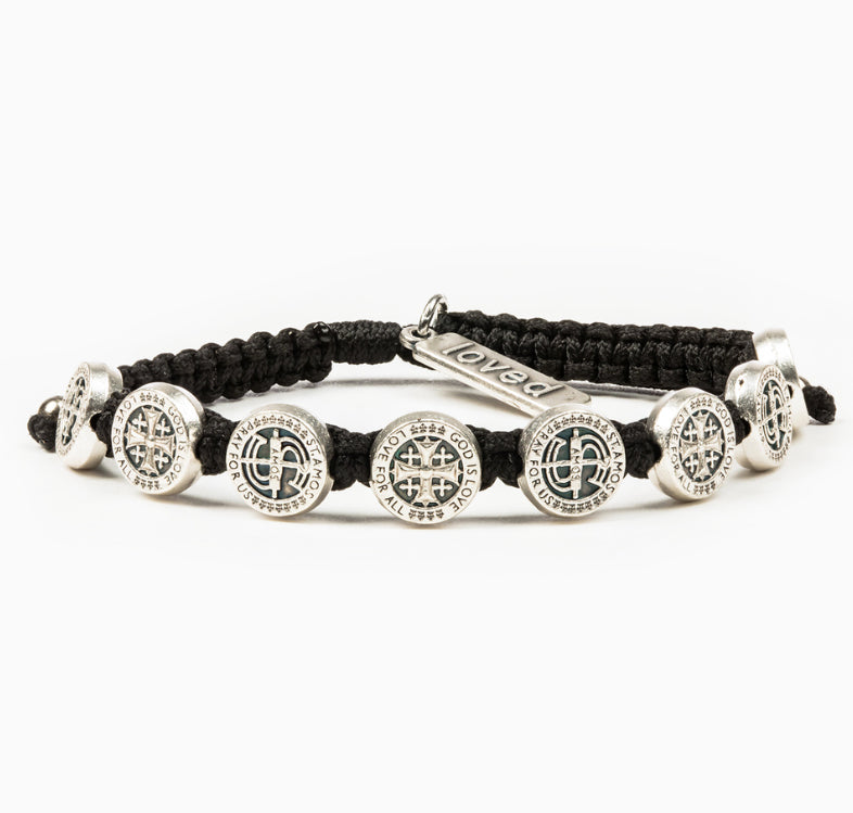 My Saint My Hero Share the Love St Amos Bracelet, John Stamos, Adjustable (Silver Plated Medals on Black)