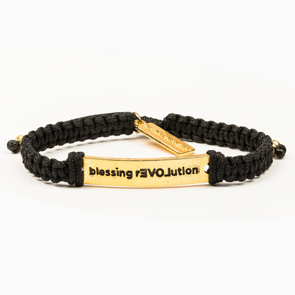 My Saint My Hero BLESSING REVOLUTION Bracelet, Adjustable (Gold Plated Medals on Black)
