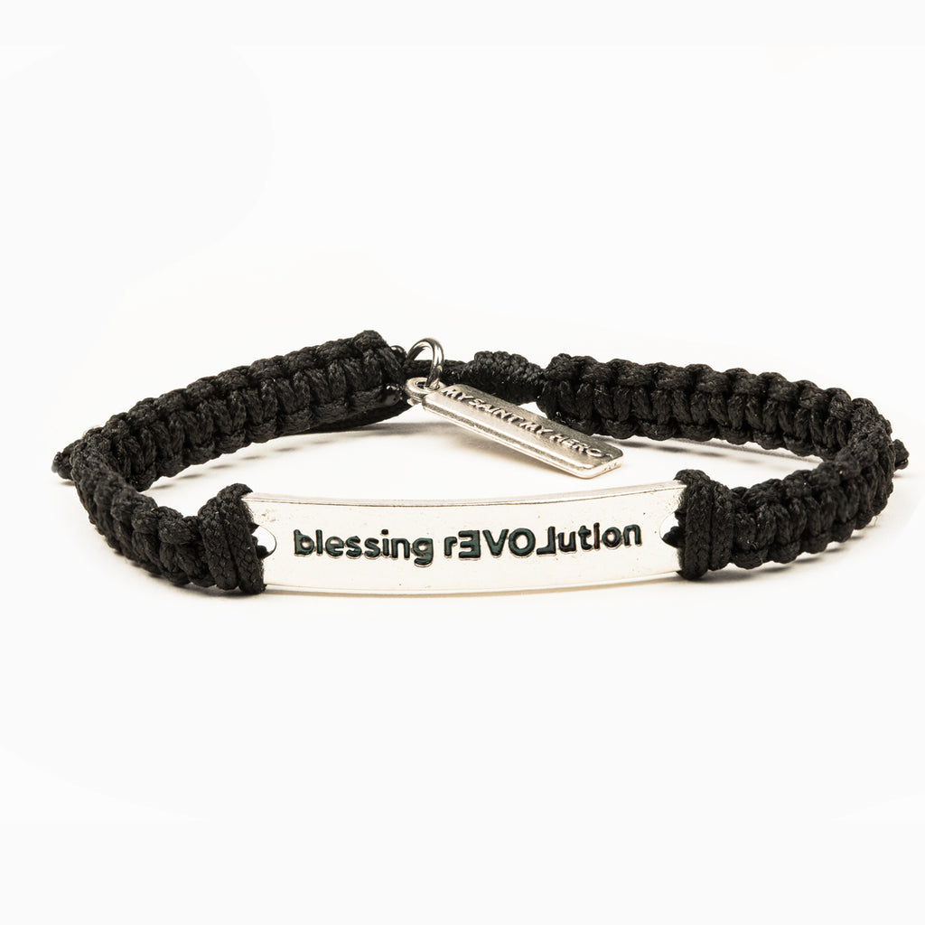 My Saint My Hero BLESSING REVOLUTION Bracelet, Adjustable (Silver Plated Medals on Black)