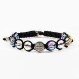 My Saint My Hero Wonder Bracelet, Adjustable (Silver Plated Medals on Black)