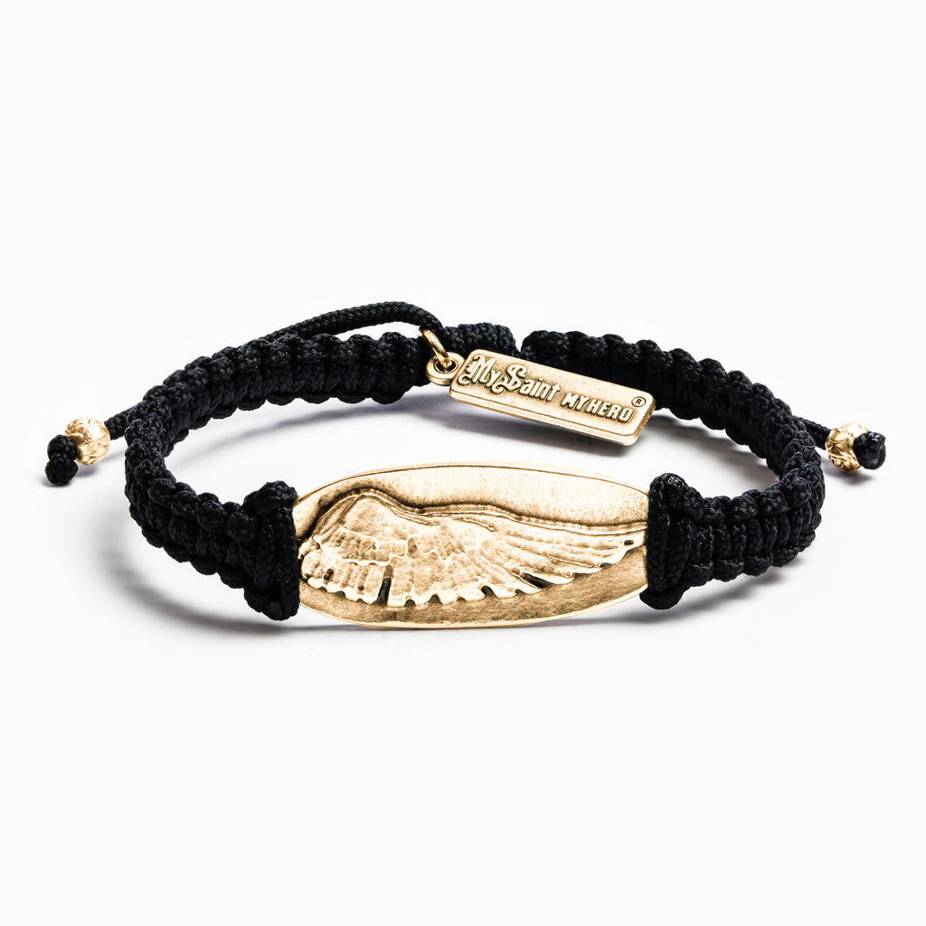 My Saint My Hero Protection Bracelet, Adjustable (Gold Plated Medals on Black)