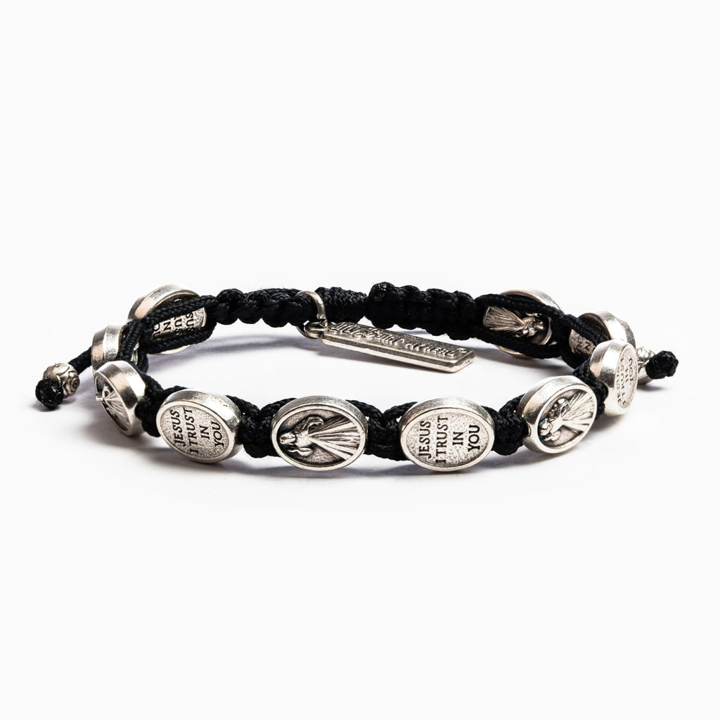 My Saint My Hero Trust Bracelet, Adjustable (Silver Plated Medals on Black)