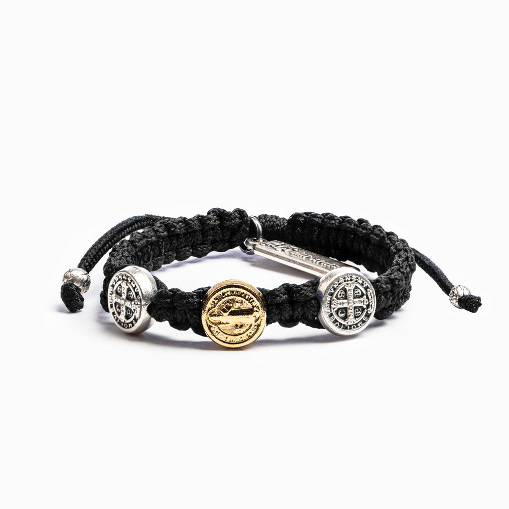My Saint My Hero Benedictine Blessing Bracelet for Kids, Adjustable (Mixed Medals on Black)