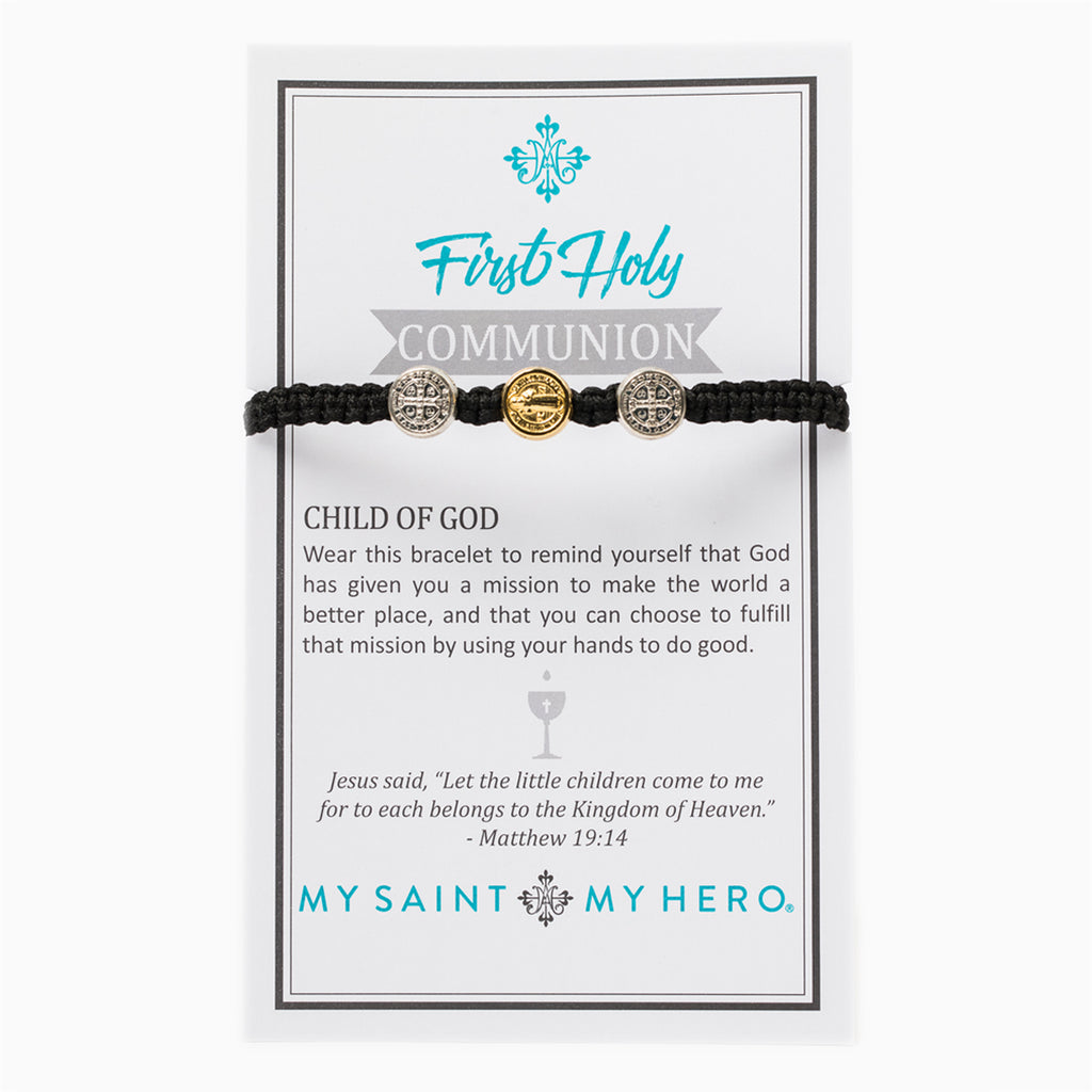 My Saint My Hero First Holy Communion Bracelet for Kids, Adjustable (Mixed Medals on Black)