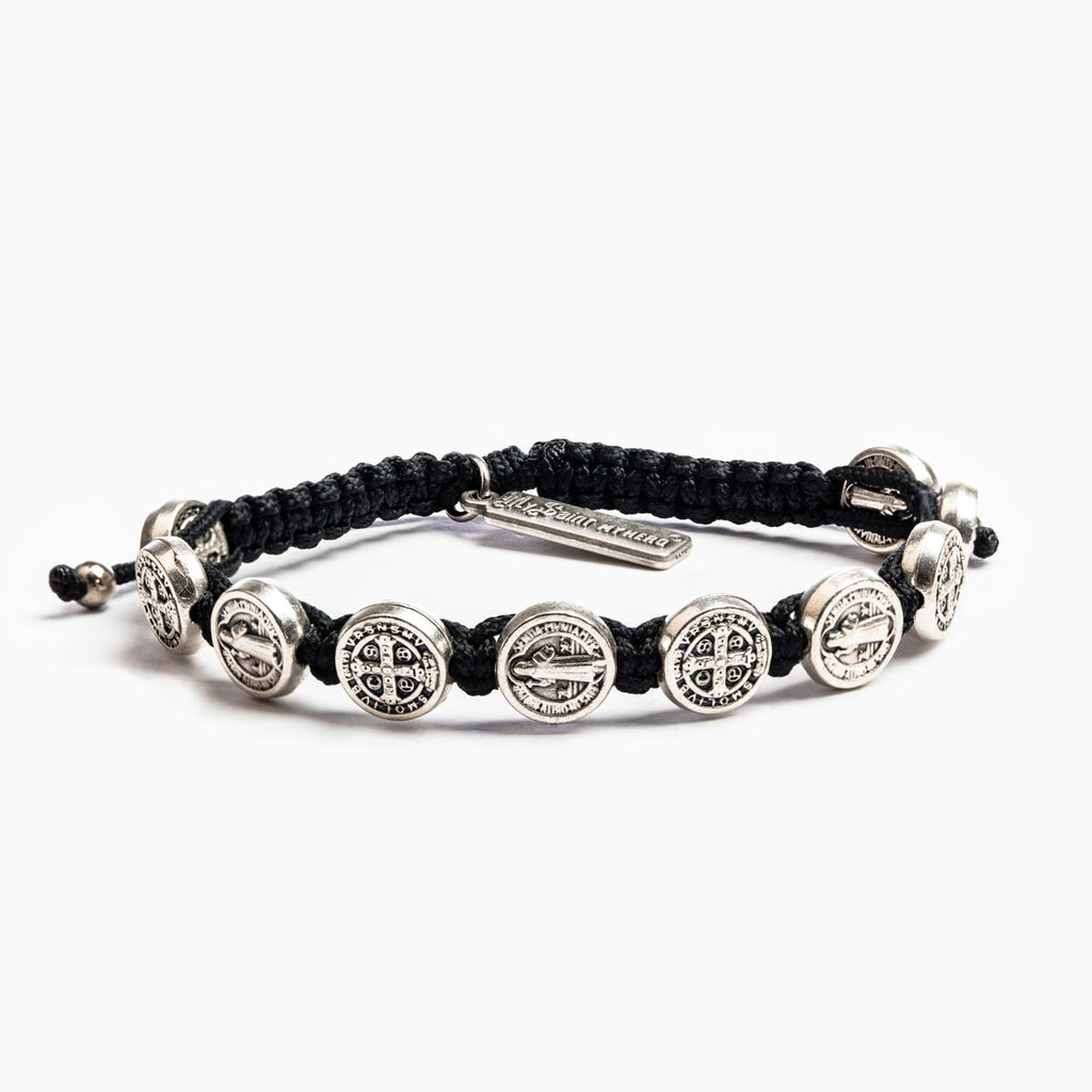 My Saint My Hero Benedictine Blessing Bracelet for Him, Adjustable (Silver Plated Medals on Black)