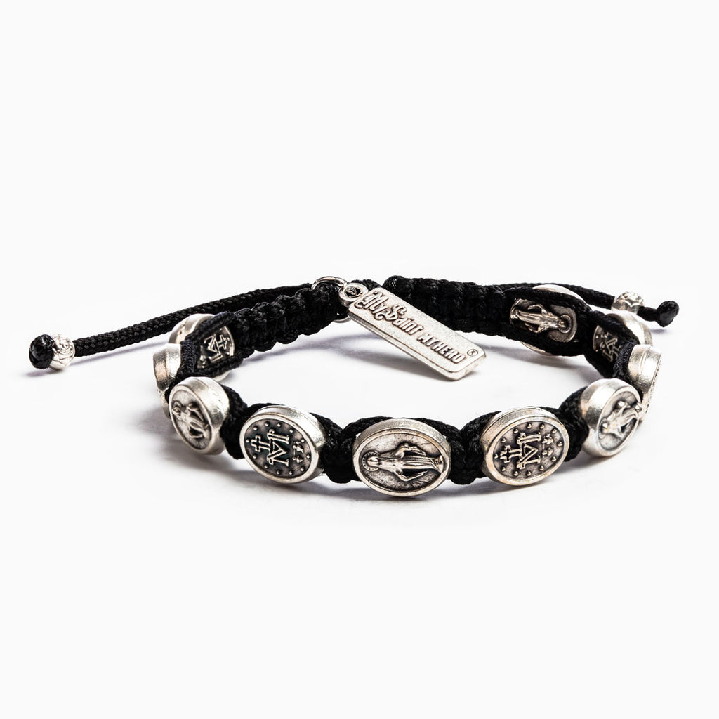 My Saint My Hero Miraculous Mary Blessing Bracelet, Adjustable (Silver Dipped Medals on Black Cord)